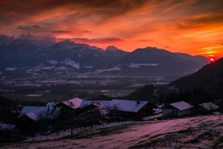 Sonnenuntergang im Inntal