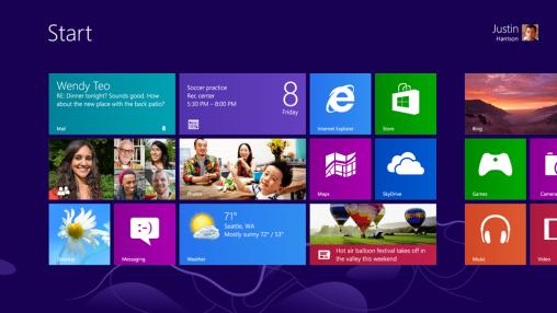 Windows 8 Metro Interface Start Screen