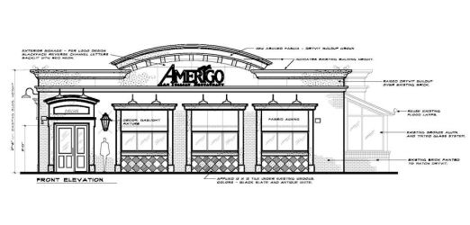 restaurant exterior amerigo proposed brentwood tn architectural