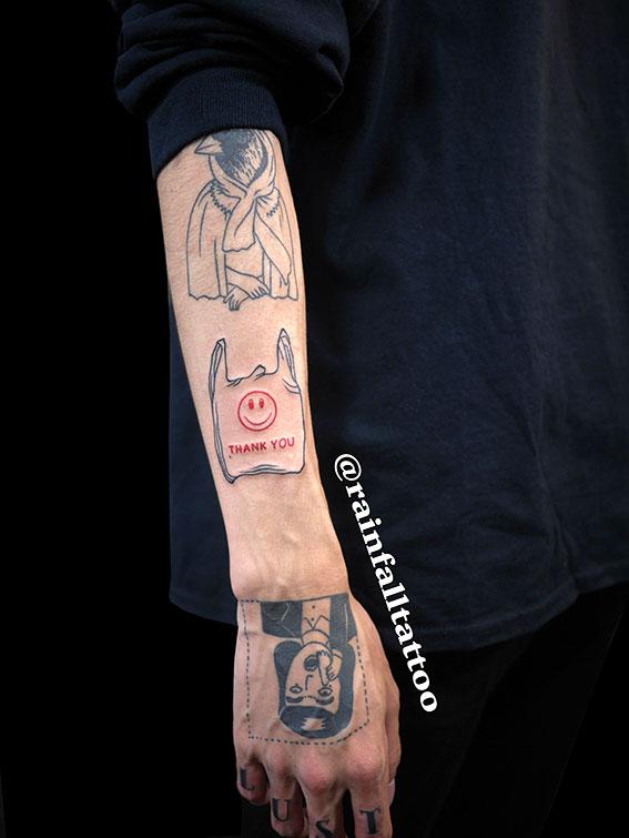 タトゥー ラインワーク 袋