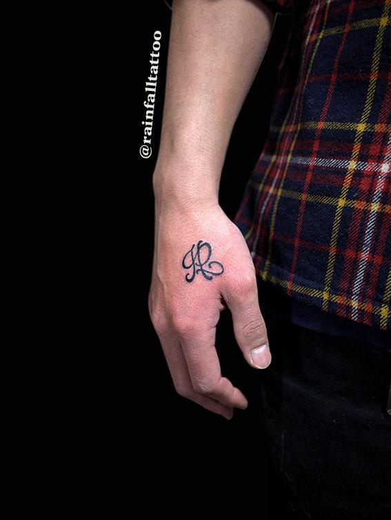 手に文字のタトゥー