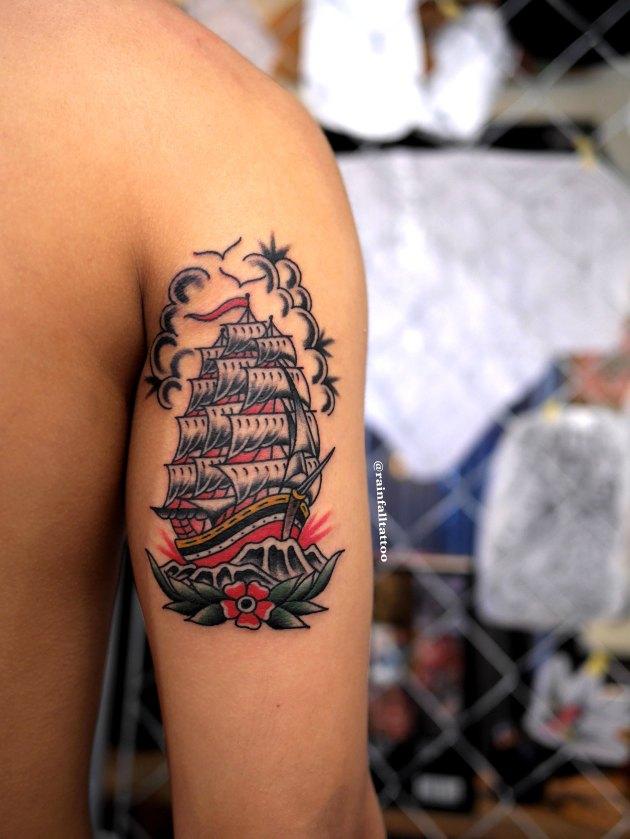 帆船のトラディショナルタトゥー