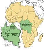 Map of the countries of Congo basin