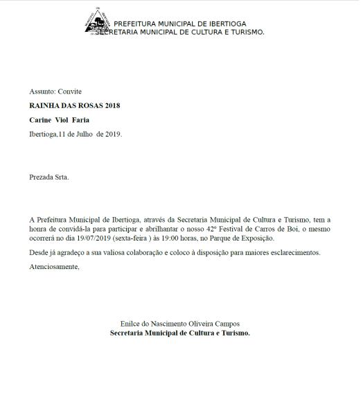 Ofício com o convite da Prefeitura para a Rainha.