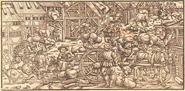 The Grain Harvest -- woodcut by Johannes Stumpf