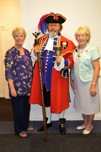 Liverpool Town Crier - Terry Stubbings, with Speakers Secretary (left) & President (right)