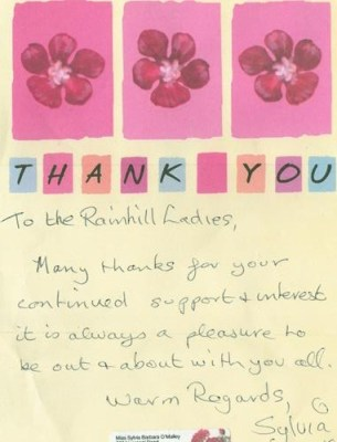 Thank You letter from Sylvia