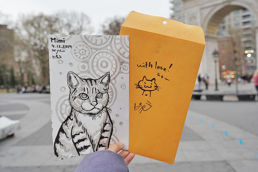 咪咪似顏繪 by 紐約華盛頓廣場 街頭藝術家