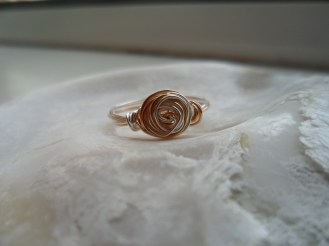 Silver & Gold Plated Wire Rose Ring