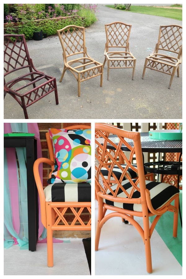 turquoise patio chairs tiffany blue chair 12 outdoor furniture makeovers easier than you think bamboo rattan makeover