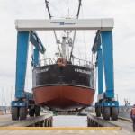 Power scow, Chichagof, fish tender, on the hard, Port Townsend,