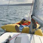 6 Jim deflates the mark on the foredeck.