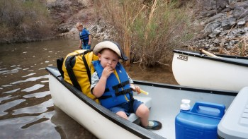 Our youngest was almost three years old when he went on his first Colorado canoe trip.  He was a natural.