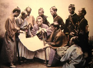 A group of Samurai men.
