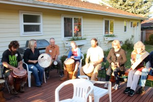 Really getting into the flow of the energy, melding our vibrations together in music and vibrations for healing.  When we are all in the trance of the drumming the playing takes on a life of it's own and we are able to drum from intuition.