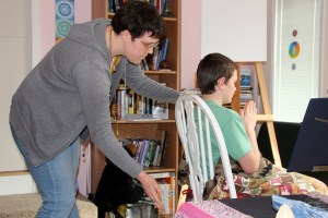Amber giving her first real Reiki attunement to my son.  She caught on quickly, almost as if she was meant to do this.