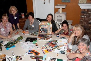 Our whole group tonight being creative, having fun and feeling great joy at being together in this process.  Having help and support from the other ladies in the group was a HUGE help to me.