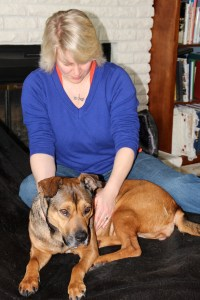 Mandy receiving Reiki from Joss, calming to everyone involved.