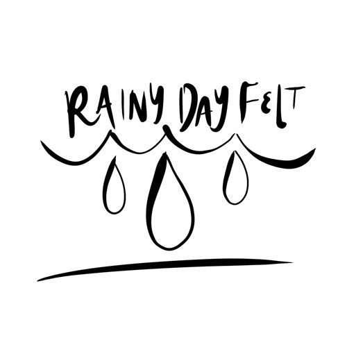 Line drawing concept art with three raindrops