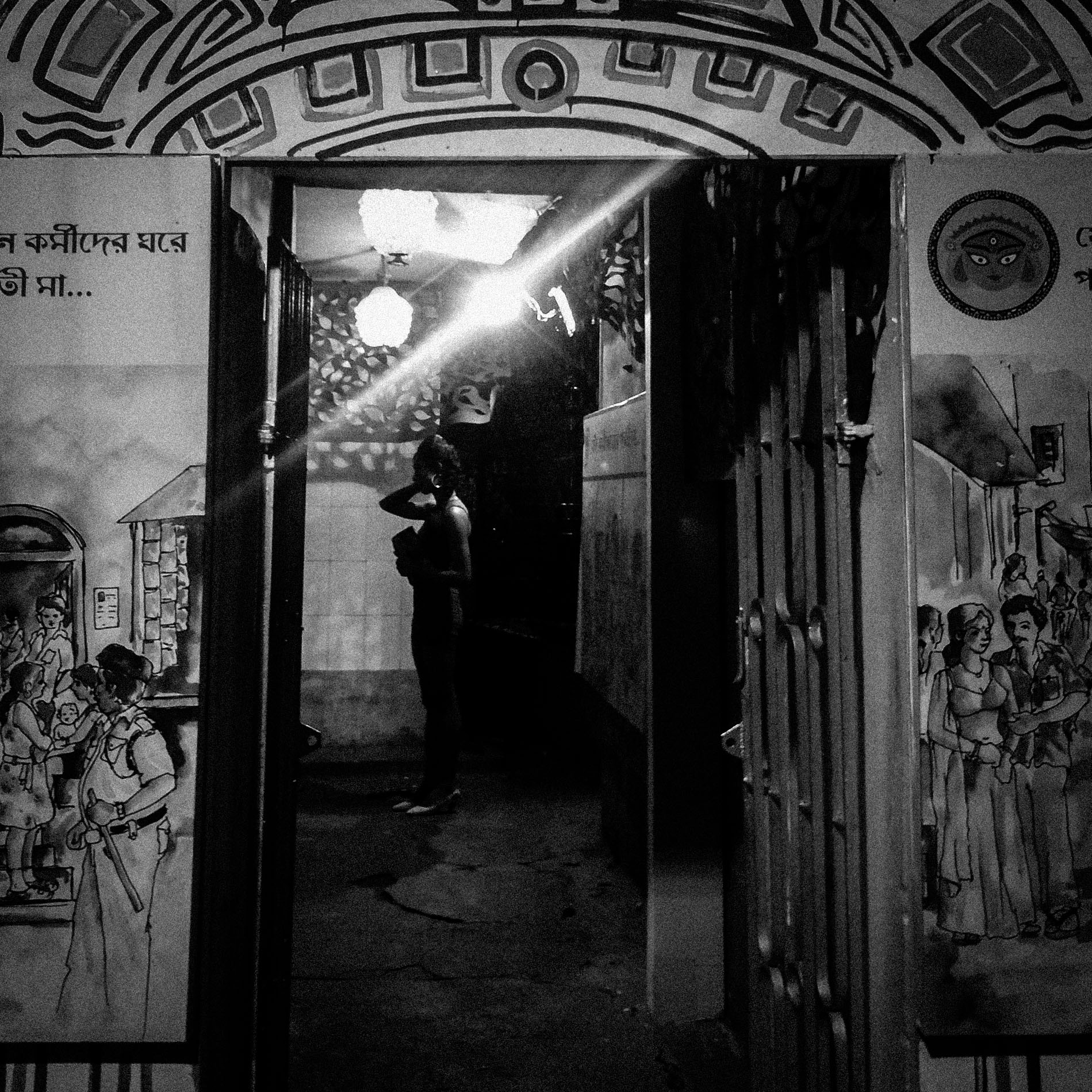 "Down a couple of lanes from the transgender community puja, tucked even deeper inside in a pristine community hall, we find the sex-workers' puja of Sonagachhi, now in its third year. Organized by the DMSC (Durbar Mahila Samanwaya Committee), the large collective of over 6500 sex-workers in West Bengal, we are told ruefully that though last year they had fought to find a place out on the road for their puja, this year they had been shoved back inside the community hall ""because they don't want us to be out among everyone."""