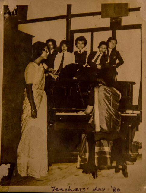 With Bandana Deori at the piano, Pinemount School, Teacher's Day 1980