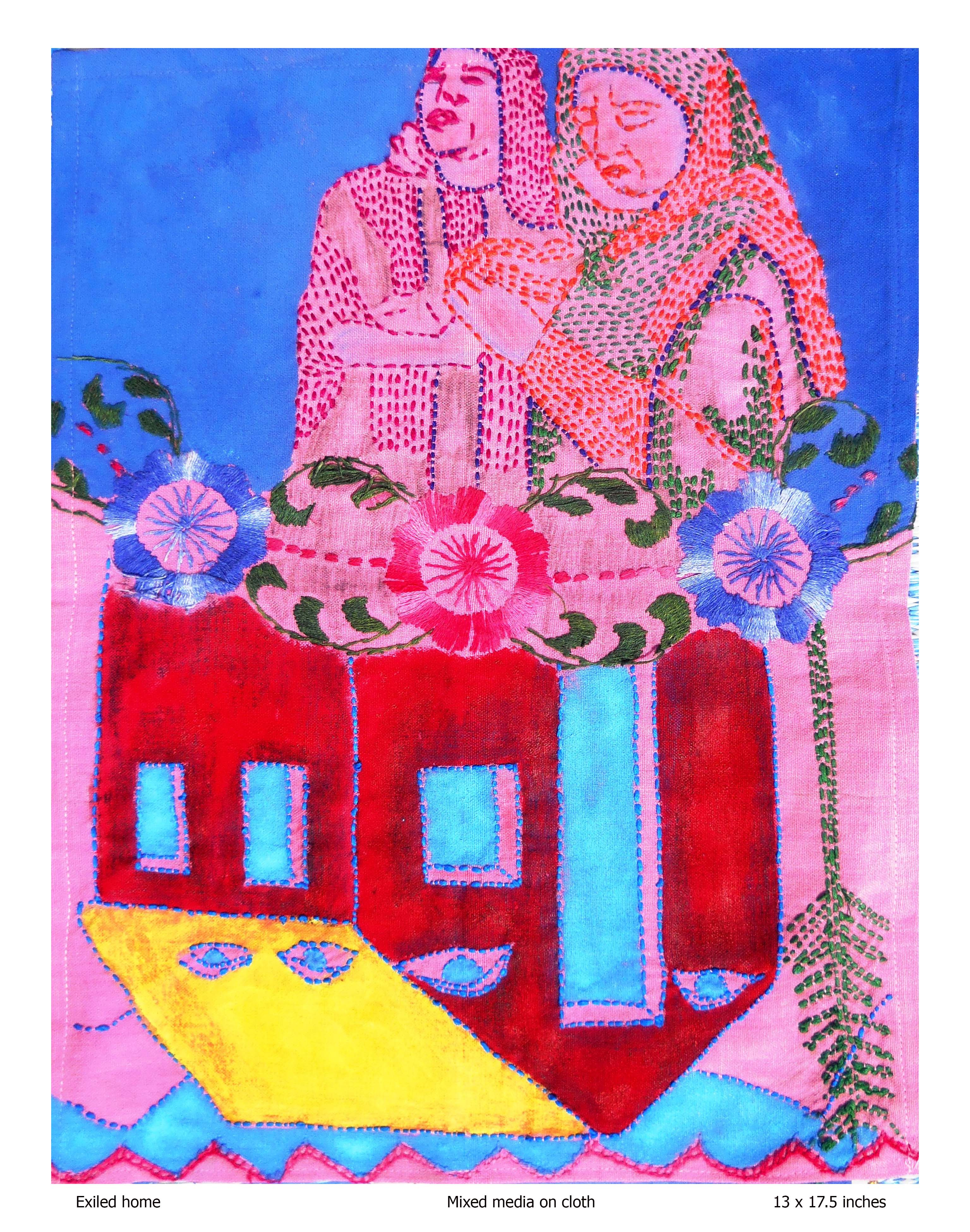 Exiled home, Mixed media on cloth, Rollie Mukherjee