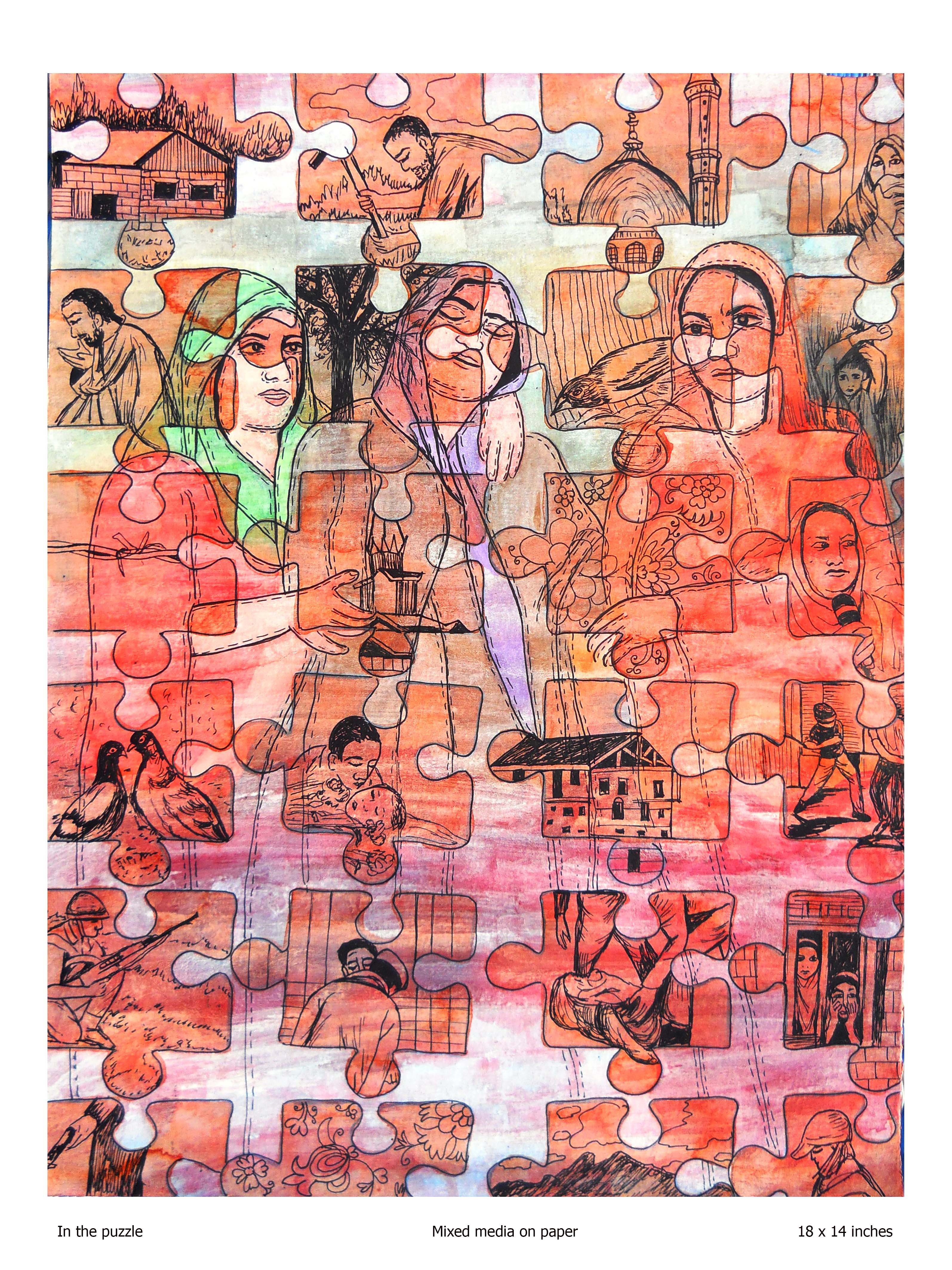 In the puzzle, Mixed media on paper, Rollie Mukherjee