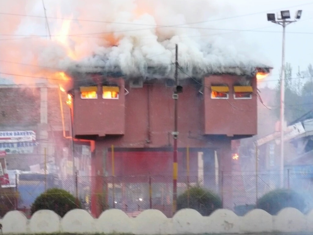 The army bunker in Handwara town set on fire via Facebook