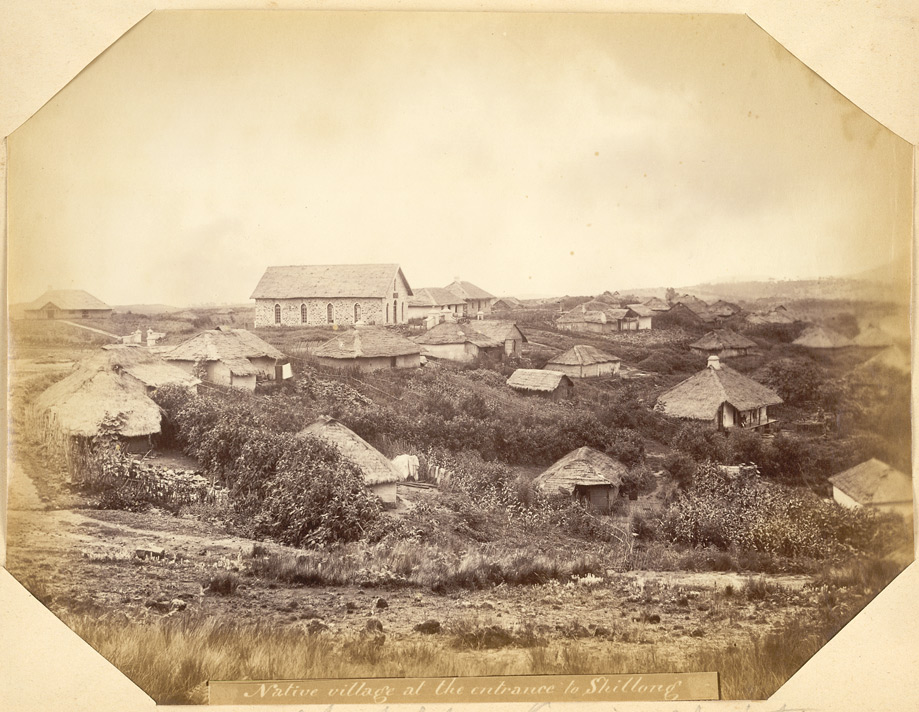 """""""Native village at the entrance to Shillong. Chapel for Kasia Christians"""" 