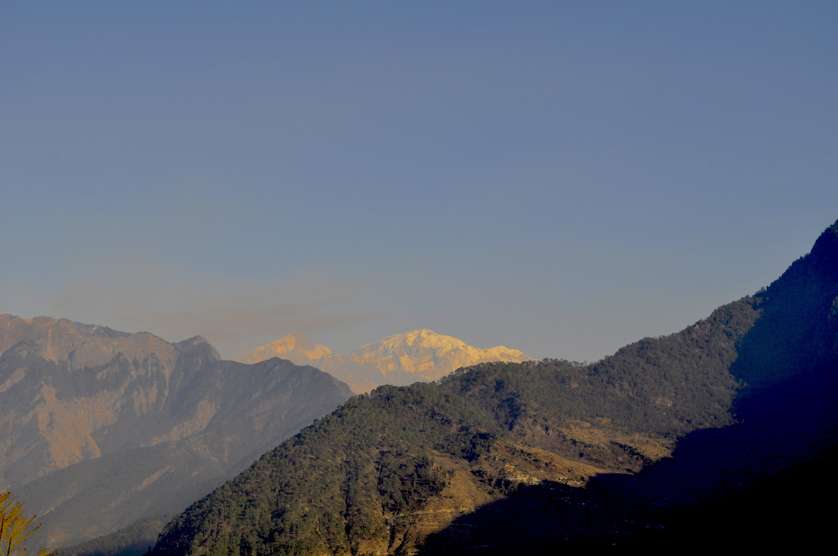 Rare view of a snow peak from Gopeshwar