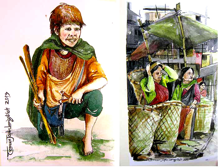 Illustrations by Careen J Langstieh from the book 'The Golden Duitara'