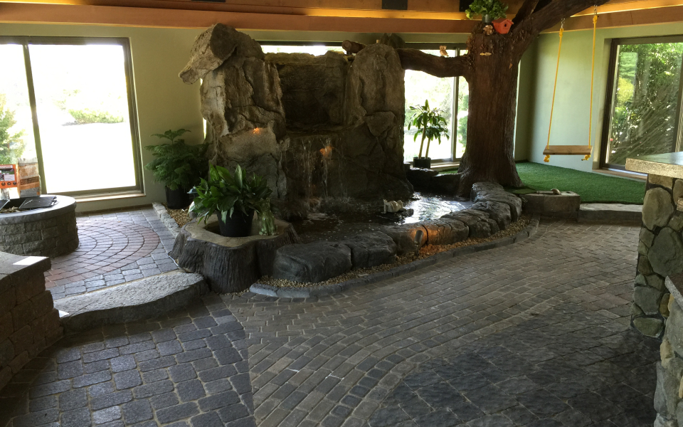 Custom water feature in showroom near Bedford NH