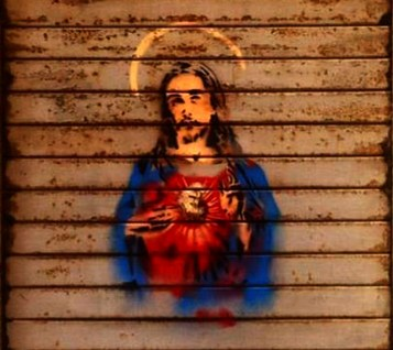 Euro Jesus by Twitch (James Micallef Grimaud) in Valletta, opposite the Prime Minister's office (photo by Seb Tanti Burlo)