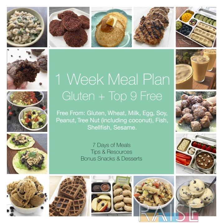 1 Week Gluten Free, Top 9 Allergy Free Meal Plan