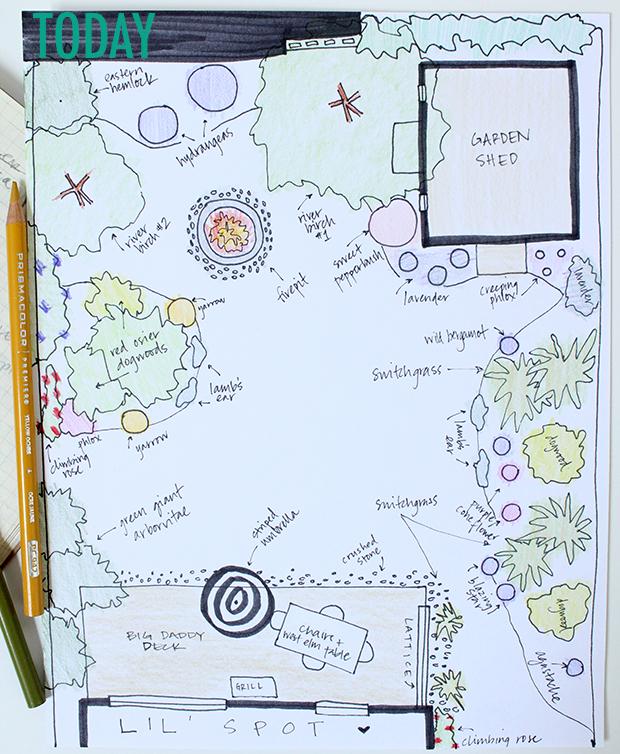 backyard plan before + after