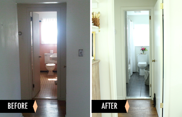 raised by design - before + after bathroom