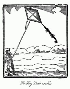 Man flying a kite, 1635