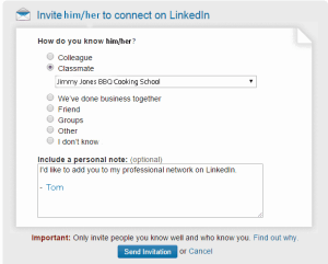 screenshot of the LinkedIn invite criteria