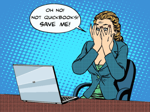 shocked woman at computer asking to save her from Quickbooks