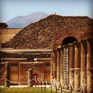 The ancient market of Pompeii is overlooked by Mount Vesuvius