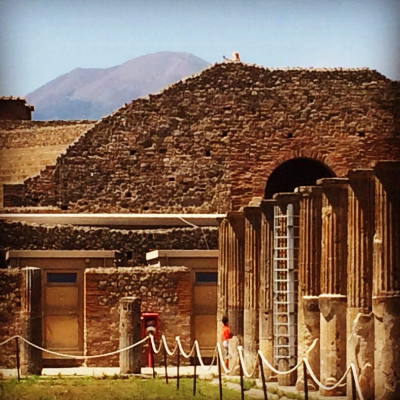 The ancient market of Pompeii is overlooked by Mount Vesuvius