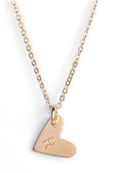 14K Gold Heart Pendant with Initial