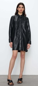 Zara Black Leather Mini Dress