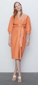 Zara Orange Leather Dress