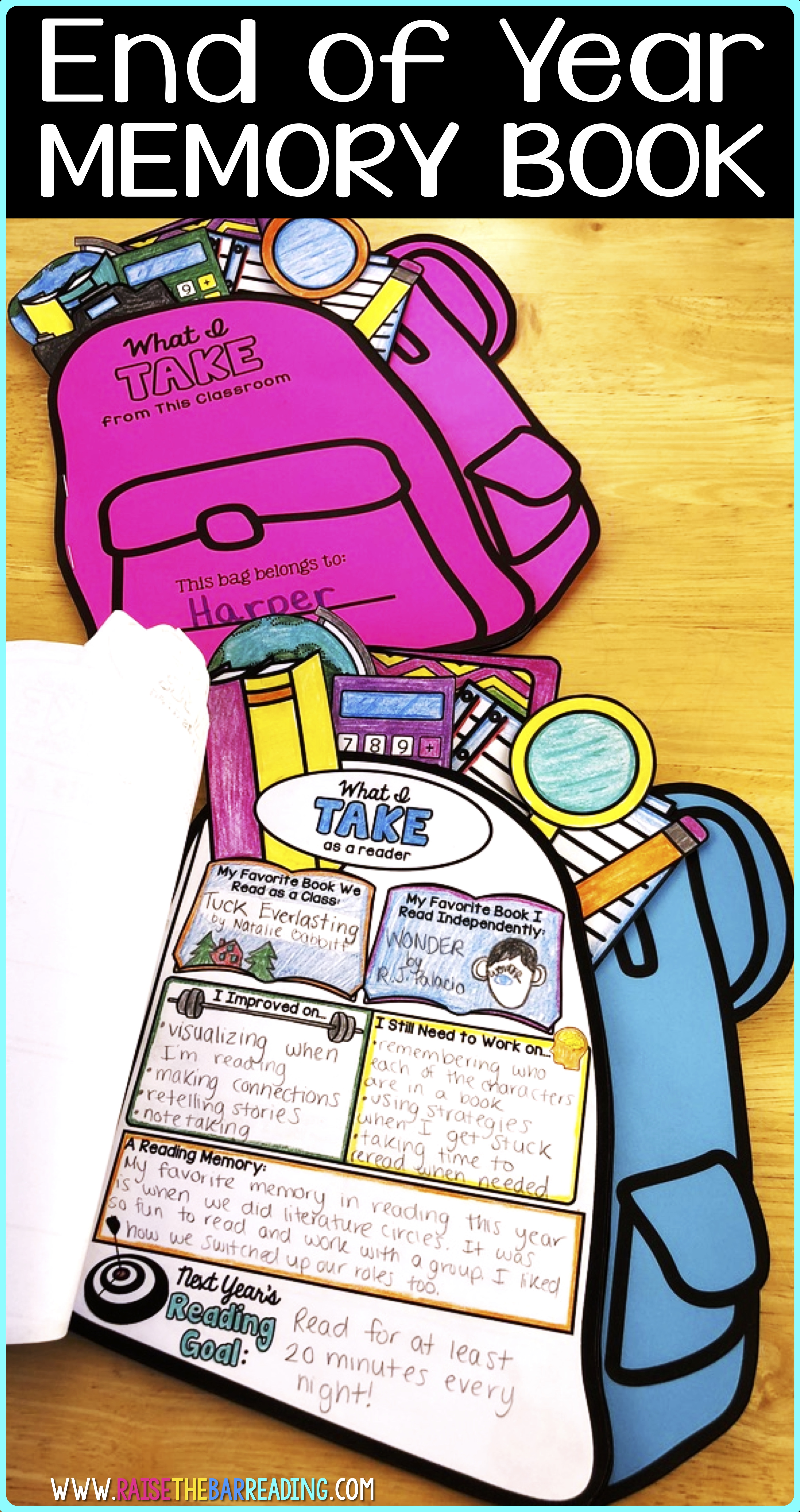 End Of Year Memory Book : memory, Backpack, Books:, Memory, Reflection, Writing, Activity, Raise, Reading