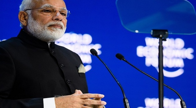 Narendra Modi speaking at the World Economic Forum, on January 23, 2018, in Davos.