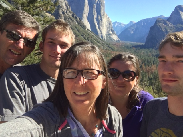 Barb McCoy with family at Yosemite