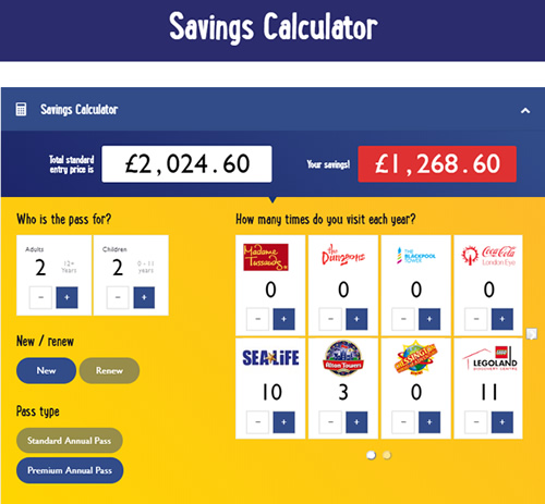 Merlin Savings Calculator - Savings from annual pass over £1,200