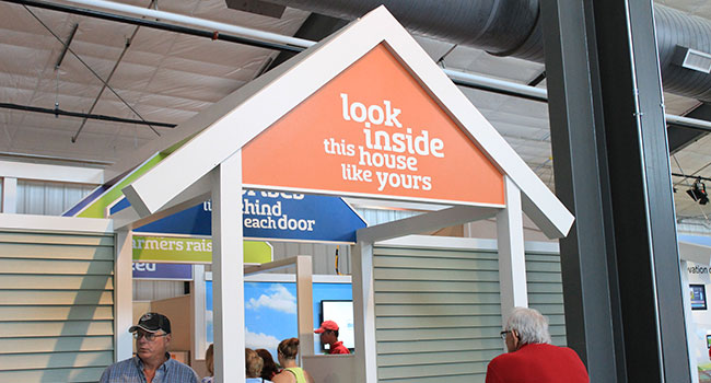 Exterior of the Agri-House exhibit, made to look like the front of a house.