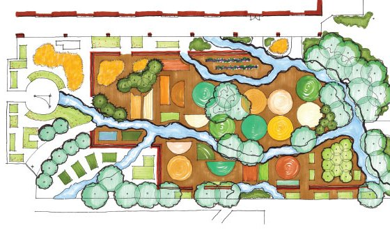 overhead plan of landscaped garden.